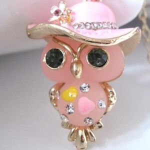 Adorable Betsey Johnson Pink Owl necklace